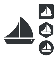 Sailing ship icon set monochrome vector