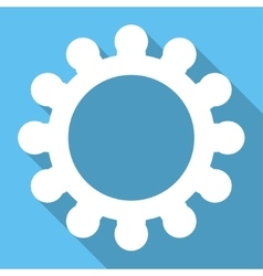Gear long shadow square icon vector