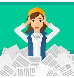 Woman in stack of newspapers vector image