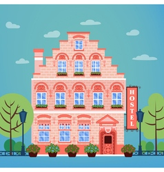 Hotel building facade vintage european city hostel vector