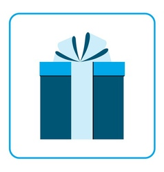 Colorful wrapped gift box icon blue vector