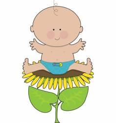 Sunflower baby boy vector