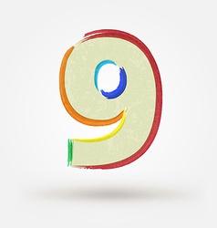 Alphabet letter number nine watercolor paint vector