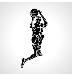 Basketball player slam dunk silhouette vector