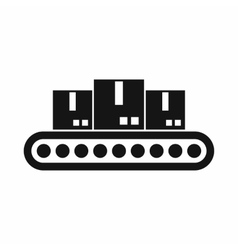 Belt conveyor with load icon simple style vector