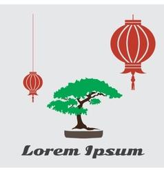 bonsai flat icon vector image vector image