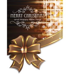 Brown christmas background with bow vector