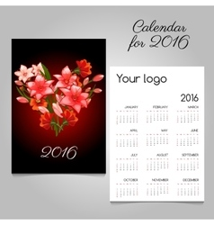 Calendar with red lilies bouquet in heart shape vector image