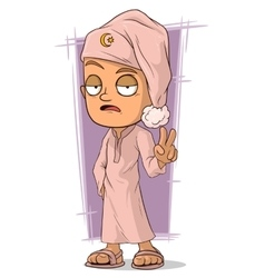 Cartoon sleepy man in pink pajama vector image