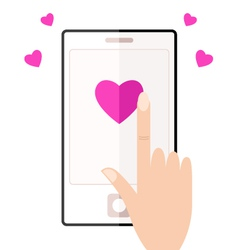 Cell phone with touching hand and hearts vector