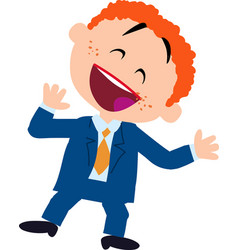 Cheerful character boy dressed like a businessman vector
