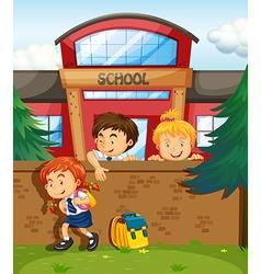 Children skipping from school vector image