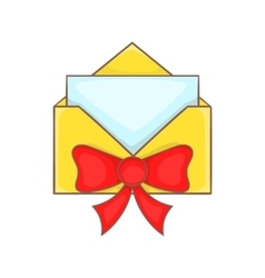 Christmas envelope with bow icon cartoon style vector image