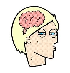 Comic cartoon man thinking carefully vector