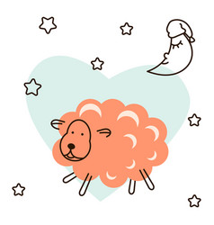 Cute baby lamb cartoon t shirt vector