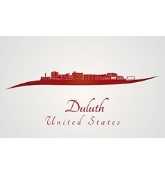 Duluth skyline in red vector