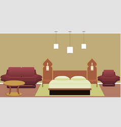 East style bedroom interior with bed sofa vector