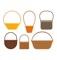 Empty picnic basket set vector