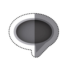 Grayscale sticker of oval speech with tail in vector