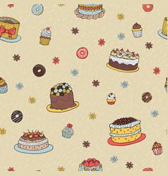 hand-drawn dessert seamless pattern vector image
