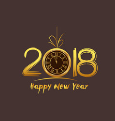 happy new year 2018 - old clock vector image