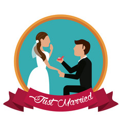 Just married man proposing woman label vector