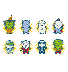 kids in halloween monsters costumes vector image