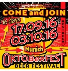 Oktoberfest beer festival celebration pop art vector