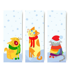 Set of 3 vertical banners with christmas cats vector