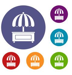 Shopping counter with umbrella icons set vector