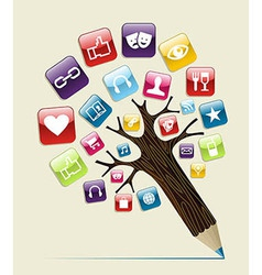 Social media concept pencil tree vector image vector image