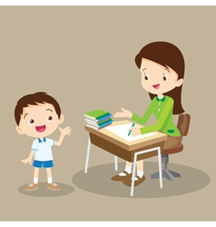 Teacher working and talk with student vector