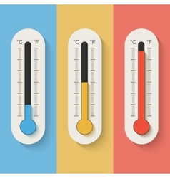 Thermometers on color background vector image