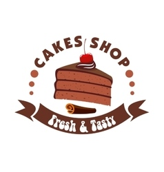 Chocolate cake badge for pastry shop design vector
