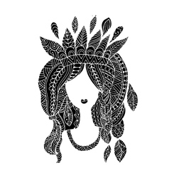 Female portrait ethnic beauty for your design vector