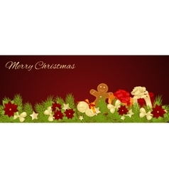 Merry christmas card of gifts vector