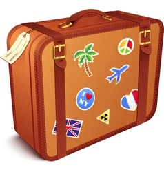 Vintage leather suitcase vector