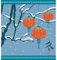 Winter landscape with chinese lanterns vector