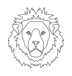 Lion icon in outline style isolated on white vector
