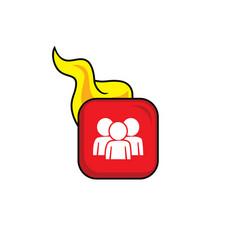 Hot flame icon button theme art vector