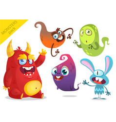 cartoon funny monsters collection vector image
