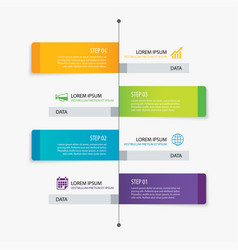 4 rectangle tab timeline infographic options vector