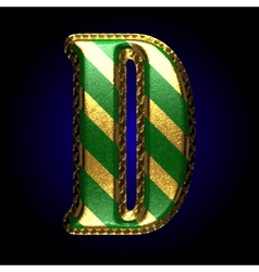 Golden and green letter d vector