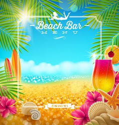 Tropical summer vacation Beach bar menu design vector image