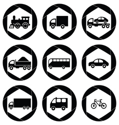 Transport monochromatic icons vector