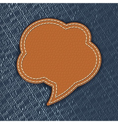 Leather speech bubble on jeans texture vector