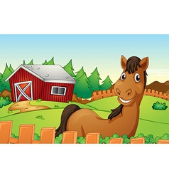 Horse and farm vector image
