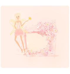 Beautiful fairy with magic wand graphic card vector