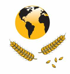 Globe and wheat grains vector