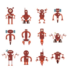 Collection of red robot icons vector